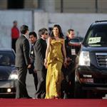 Freida Pinto and Dev Patel outside the 2009 Golden Globe Award red carpet  30484