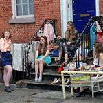 Lena Dunham, Zosia Mamet, Jemima Kirke and Allison Williams on the set of Girls in Soho 116542