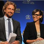 Gerard Butler and Rashida Jones during the 69th annual Golden Globe Award Nominations announcements 100699