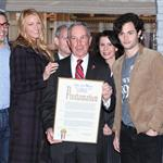 Josh Safran, Kelly Rutherford, Blake Lively, New York City Mayor Michael R. Bloomberg, Penn Badgley, Matthew Settle at The Mayoral proclamation in celebration of the Gossip Girl 100th episode at Silver Cup Studios in New York City 103908