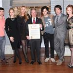 Josh Safran, Kelly Rutherford, Blake Lively, New York City Mayor Michael R. Bloomberg, Penn Badgley, Matthew Settle at The Mayoral proclamation in celebration of the Gossip Girl 100th episode at Silver Cup Studios in New York City 103910
