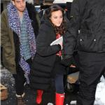 Leighton Meester in red Hunter boots on Gossip Girl set 77769