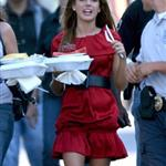 Shenae Grimes poses with food on the set of 90210 25225