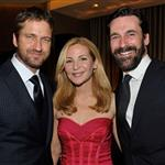Jon Hamm and Jennifer Westfeldt pose with Gerard Butler at Artists for Peace & Justice 56030