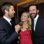 Jon Hamm and Jennifer Westfeldt pose with Gerard Butler at Artists for Peace & Justice 56032