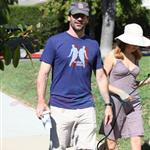Jon Hamm walking dog with Jennifer Westfeldt 69544