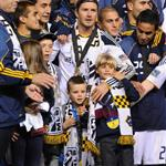 David Beckham celebrates MLS Cup win for LA Galaxy with his sons 98823