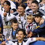 David Beckham celebrates MLS Cup win for LA Galaxy with his sons 98829
