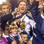 David Beckham celebrates MLS Cup win for LA Galaxy with his sons 98833