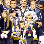 David Beckham celebrates MLS Cup win for LA Galaxy with his sons 98834