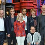 Rupert Grint, Warwick Davis, Tom Felton and Evanna Lynch with David Yates at a Photo call at the worldwide Grand Opening cast and crew junket for the opening of Warner Bros. Studio Tour London - The Making of Harry Potter at Leavesden Studios 110099