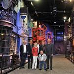 Rupert Grint, Warwick Davis, Tom Felton and Evanna Lynch with David Yates at a Photo call at the worldwide Grand Opening cast and crew junket for the opening of Warner Bros. Studio Tour London - The Making of Harry Potter at Leavesden Studios 110100