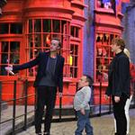 Rupert Grint, Warwick Davis, Tom Felton and Evanna Lynch at a Photo call at the worldwide Grand Opening cast and crew junket for the opening of Warner Bros. Studio Tour London - The Making of Harry Potter at Leavesden Studios 110102