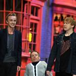 Rupert Grint, Warwick Davis, Tom Felton and Evanna Lynch at a Photo call at the worldwide Grand Opening cast and crew junket for the opening of Warner Bros. Studio Tour London - The Making of Harry Potter at Leavesden Studios 110104