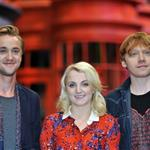 Rupert Grint, Tom Felton and Evanna Lynch at a Photo call at the worldwide Grand Opening cast and crew junket for the opening of Warner Bros. Studio Tour London - The Making of Harry Potter at Leavesden Studios 110107