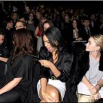 Hayden Panettiere sits with Ed Westwick and Rosario Dawson at the Tommy Hilfiger show during NY Fashion Week 55409