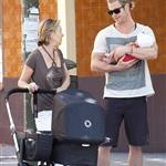 Chris Hemsworth out in Madrid with his mother-in-law and baby India  119524