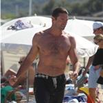 Hugh Jackman on the beach while on holiday in St Tropez 92966
