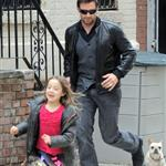 Hugh Jackman with daughter Ava and a friend out with the dog in New York 82973