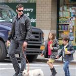 Hugh Jackman with daughter Ava and a friend out with the dog in New York 82975