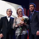 Meryl Streep receives the Golden Honorary Bear award for Lifetime Achievement from Jake Gyllenhaal at the Berlinale Palace in Berlin 106236