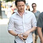 James McAvoy gets a coffee while on the set of his new movie The Disappearance of Eleanor Rigby in Manhattan 120201