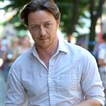 James McAvoy gets a coffee while on the set of his new movie The Disappearance of Eleanor Rigby in Manhattan 120216