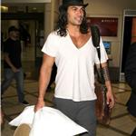 Jason Momoa arrives at LAX with a pillow and a hat box 91690