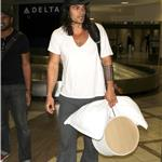 Jason Momoa arrives at LAX with a pillow and a hat box 91692