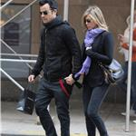 Justin Theroux and Jennifer Aniston spotted by Nellos Restaurant in NYC 98088