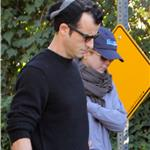 Jennifer Aniston and Justin Theroux take her dog Dolly for a walk in Beverly Hills 99287