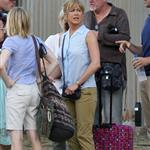 Jennifer Aniston on the set of We're the Millers with Emma Roberts and Jason Sudeikis 121476