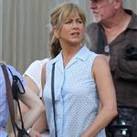 Jennifer Aniston on the set of We're the Millers with Emma Roberts and Jason Sudeikis 121480