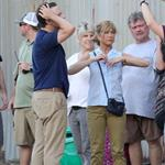 Jennifer Aniston on the set of We're the Millers with Emma Roberts and Jason Sudeikis 121485
