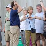 Jennifer Aniston on the set of We're the Millers with Emma Roberts and Jason Sudeikis 121487