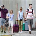 Jennifer Aniston on the set of We're the Millers with Emma Roberts and Jason Sudeikis 121490