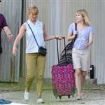Jennifer Aniston on the set of We're the Millers with Emma Roberts and Jason Sudeikis 121491