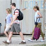 Jennifer Aniston on the set of We're the Millers with Emma Roberts and Jason Sudeikis 121492