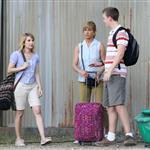 Jennifer Aniston on the set of We're the Millers with Emma Roberts and Jason Sudeikis 121495
