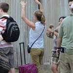 Jennifer Aniston on the set of We're the Millers with Emma Roberts and Jason Sudeikis 121496