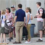 Jennifer Aniston on the set of We're the Millers with Emma Roberts and Jason Sudeikis 121500