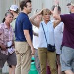 Jennifer Aniston on the set of We're the Millers with Emma Roberts and Jason Sudeikis 121503