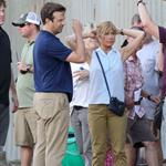 Jennifer Aniston on the set of We're the Millers with Emma Roberts and Jason Sudeikis 121504