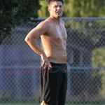 Jensen Ackles shirtless playing soccer in Vancouver August 2010  67601
