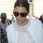 Jessica Biel arrives at the Giambattista Valli Spring-Summer 2012 show during Paris Fashion Week 95443