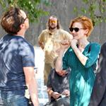 Jessica Chastain and James McAvoy on the set of The Disappearance Of Eleanor Rigby in New York 122048