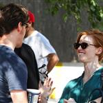 Jessica Chastain and James McAvoy on the set of The Disappearance Of Eleanor Rigby in New York 122051