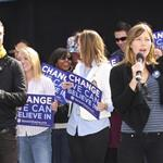"Justin Timberlake and Jessica Biel attend the ""Last Chance for Change"" Rally and Canvass Kickoff held at the Clark County Amphitheater in Las Vegas. October 2008 99136"