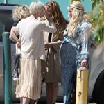 Jessica Simpson greets her sister, Ashlee Simpson, outside of her baby shower 109174