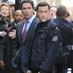 Joseph Gordon-Levitt and Christian Bale on the set of The Dark Knight Rises in New York 97334